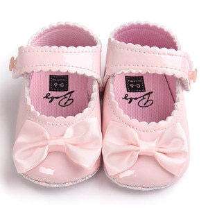 TELOTUNY baby girl shoes Anti-slip bow first walkers PU Leater newborn shoes Z0828