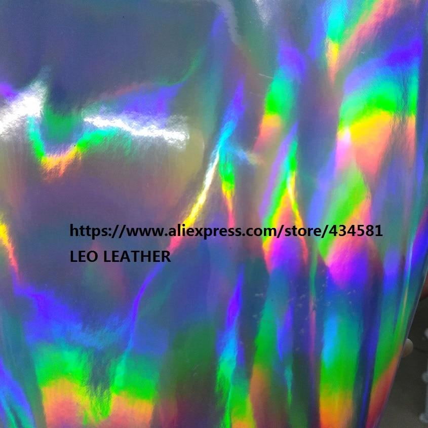 30X134CM  Radium film special fabrics colorful holographic faux PU leather fabric material tela cuero laser leather P1562