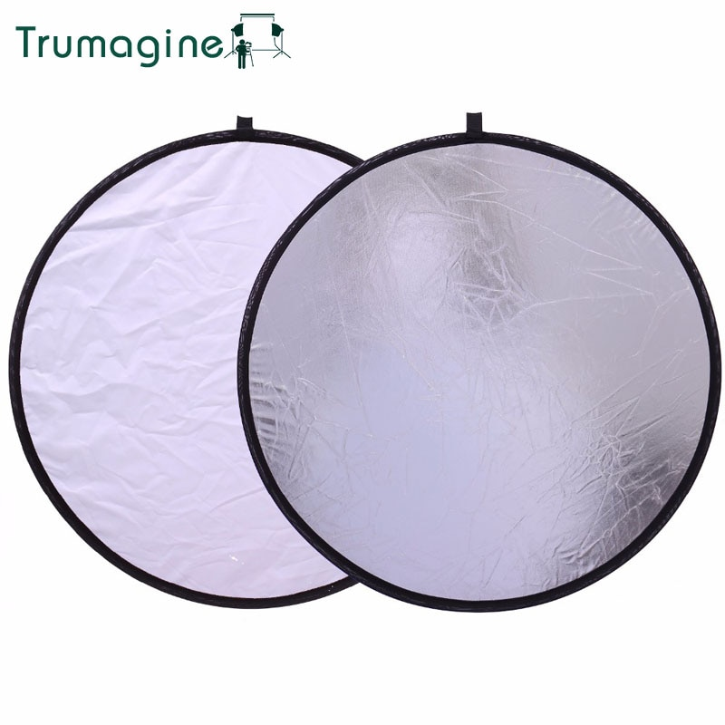 50CM/20'' 2 In 1 Portable Collapsible Round Light Reflector Silver White Disc Photography Reflector For Camera Light Reflector