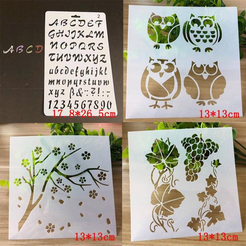 4 шт. шаблоны с буквами шаблоны для распыления винограда шаблоны трафареты для скрапбукинга живопись многоразовые