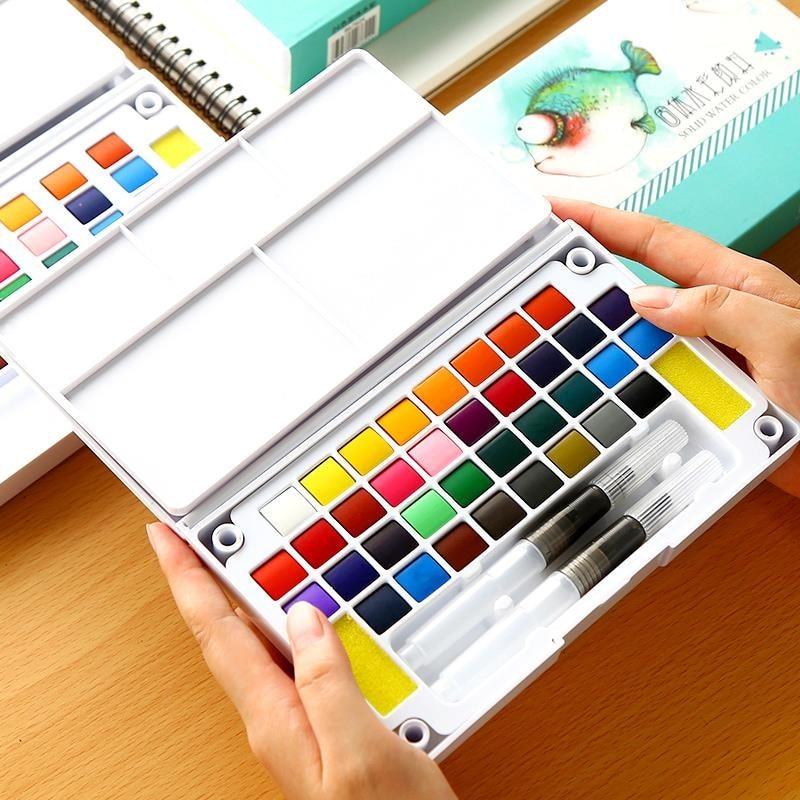 12/24/36 couleurs vives solide ensemble de couleurs de leau Portable peint à la main aquarelle Pigment Transparent ensemble de dessin complet