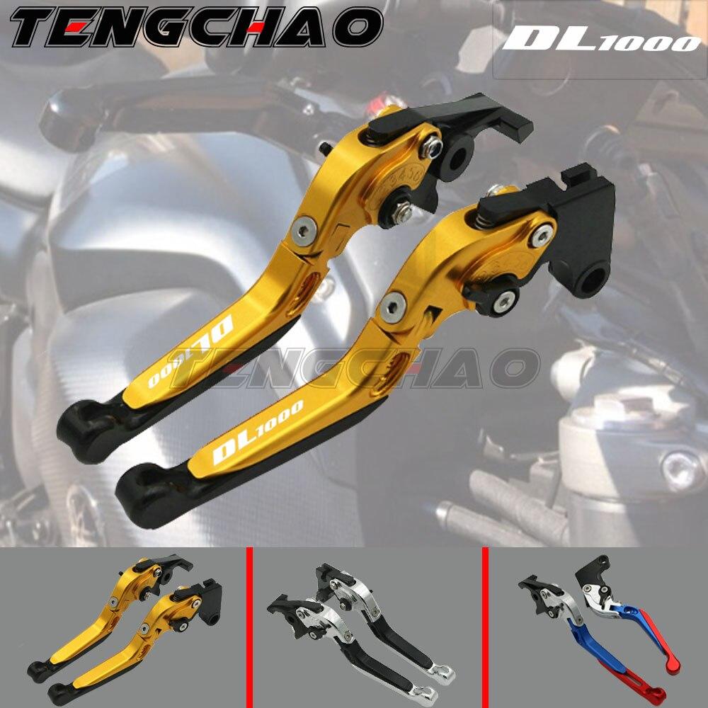 LOGO DL1000 para SUZUKI DL 1000 DL1000 V-STROM 2002-2017 accesorios de motocicleta palancas de embrague de freno extensibles plegables negro