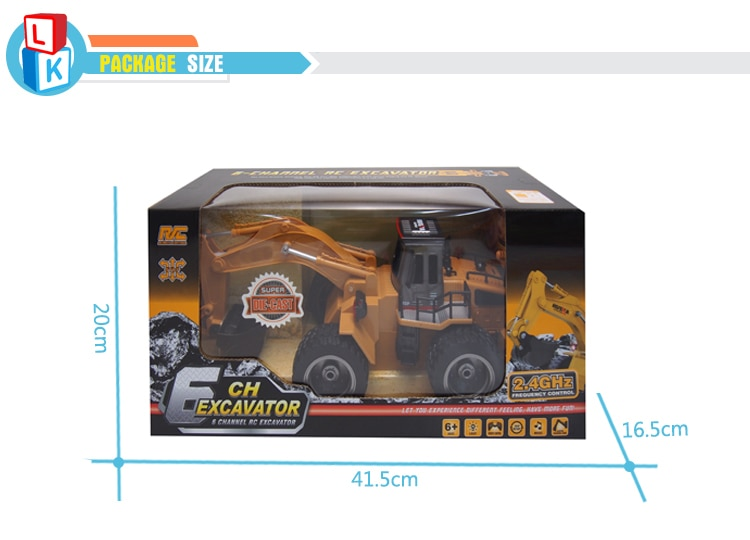 Long Time Playing 1/18 Radio Control Engineering Metal RC Excavator Toy with 6 Channels Remote Control Excavator enlarge