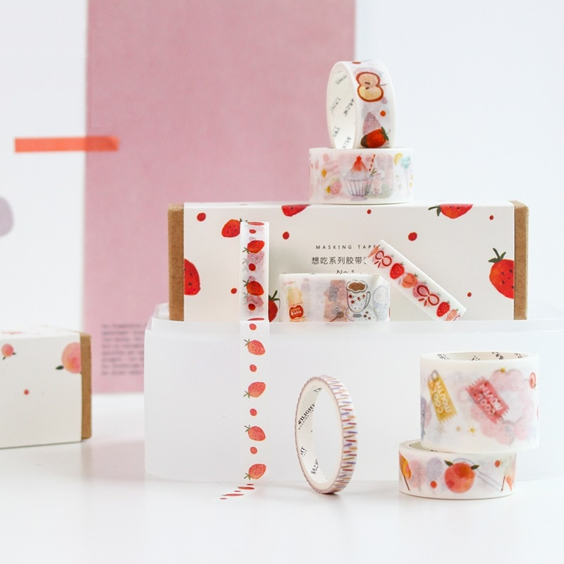8 stücke Bunte welt washi band boxed set Nette tier Obst gemüse Dekoration farbe masking tapes aufkleber scrapbooking A6359