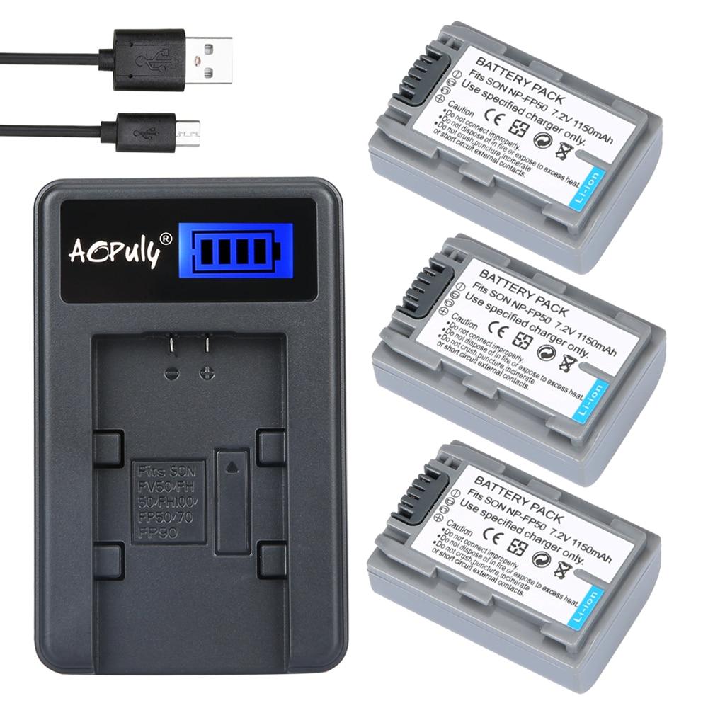 3 pc NP-FP50 NPFP50 NP FP50 NP-FP51 NP FP51 batería Cámara + LCD USB cargador para Sony ACC-TCP5 VQP1 BC-V500 DCR-HC16 HDR-HC3 HC30