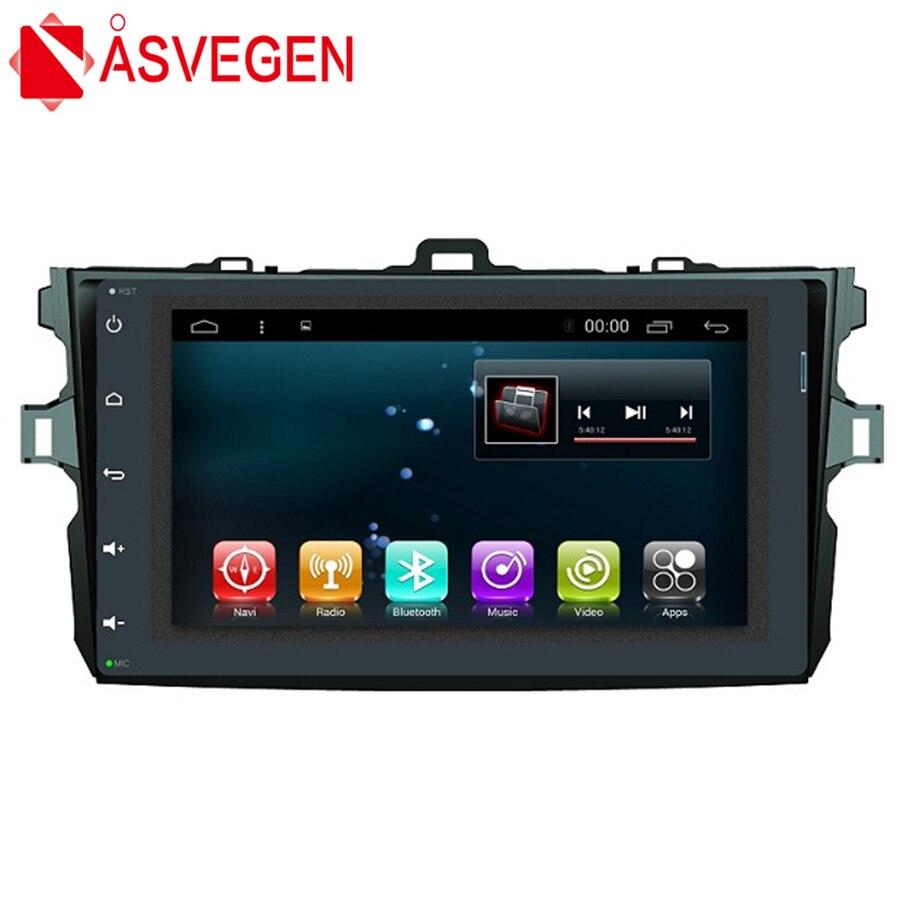 Asvegen 9 coche Android 7,1 cuatro núcleos Bluetooth Multimedia Centro Audio reproductor de vídeo navegación GPS para Toyota Corolla 2007
