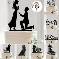 fashion hot mr mrs wedding decoration cake topper acrylic black romantic bride groom cake accessories for wedding party favors