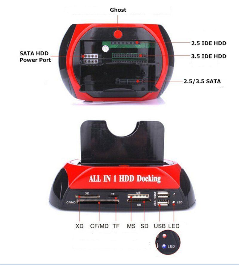 "Alle In 1 2.5 ""3.5"" IDE SATA HDD Festplatte Disk Klon Halter Dock Docking Station mit Multi kartenleser"