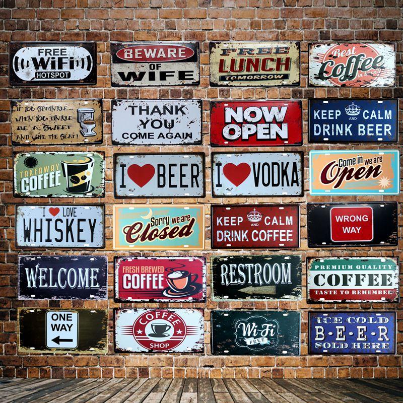 [WellCraft] café cerveza abierto WIFI matrícula signos placa de pared cartel decoración para Internet cafés habitación Iron Painting HY-1710