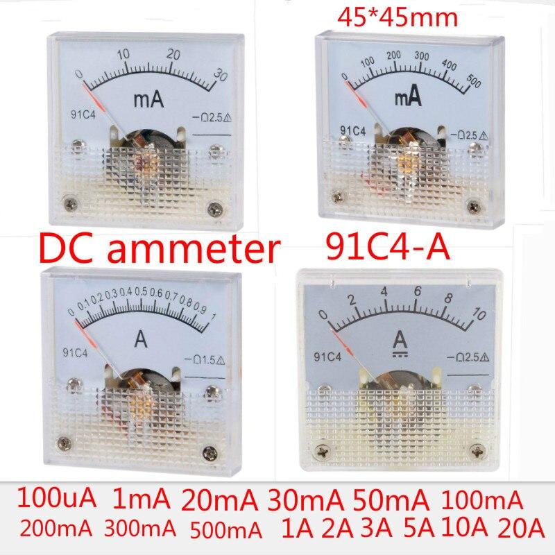 Класс 2,5 Точность DC 100uA 20mA 30mA 500mA 0-1A 2A 3A 5A 10A 15A 20A 30A Амперметр Аналоговый панельный Амперметр 91C4