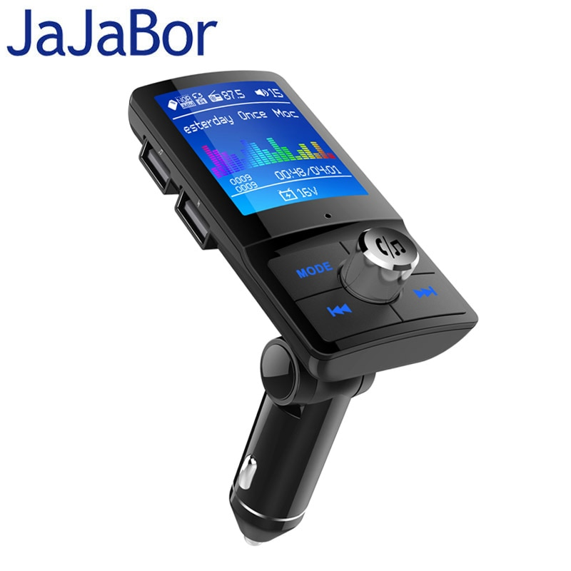 JaJaBor Bluetooth Carkit Handsfree Fm-zender Ondersteuning Siri Kleur Scherm AUX Audio Ontvanger Auto MP3 Speler QC3.0 Quick Lading