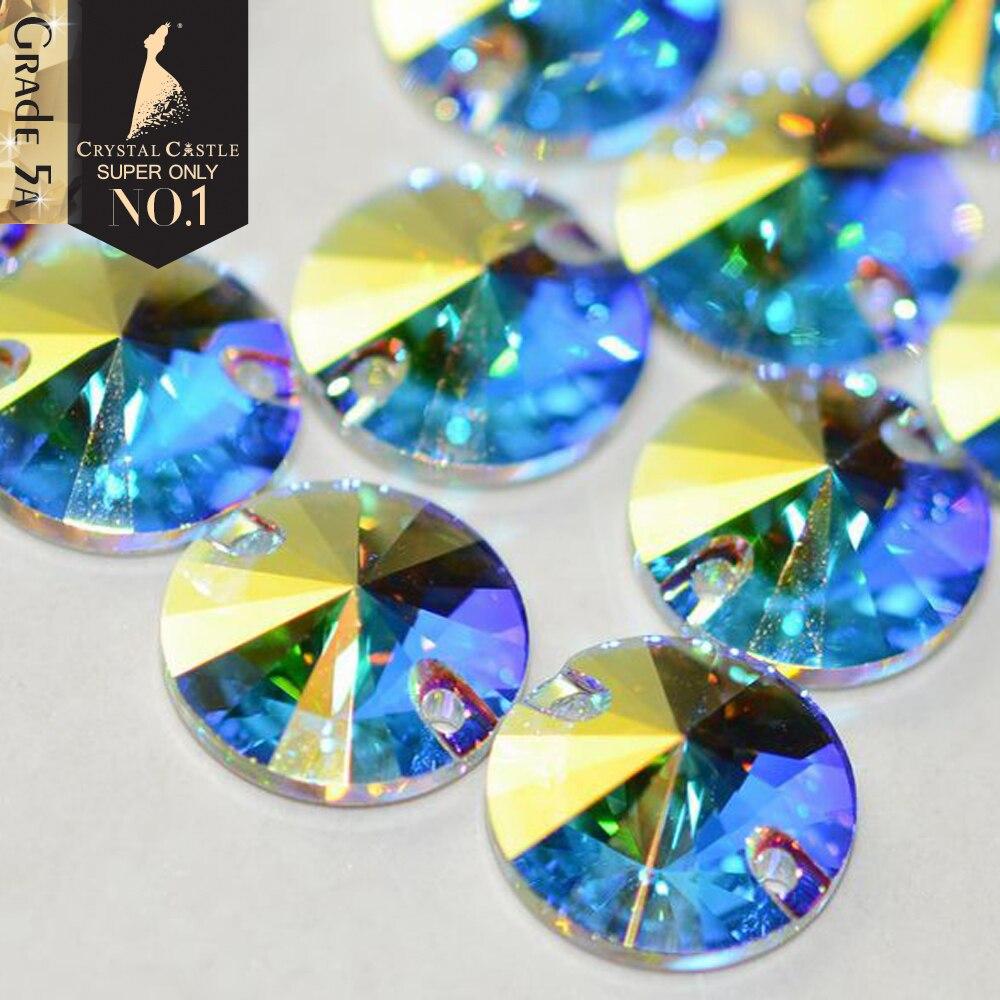 Castillo de cristal pedrería de 5A Rivoli Round Cristal de strass cristales de piedra para coser dos agujeros de diamantes de imitación para coser vestidos