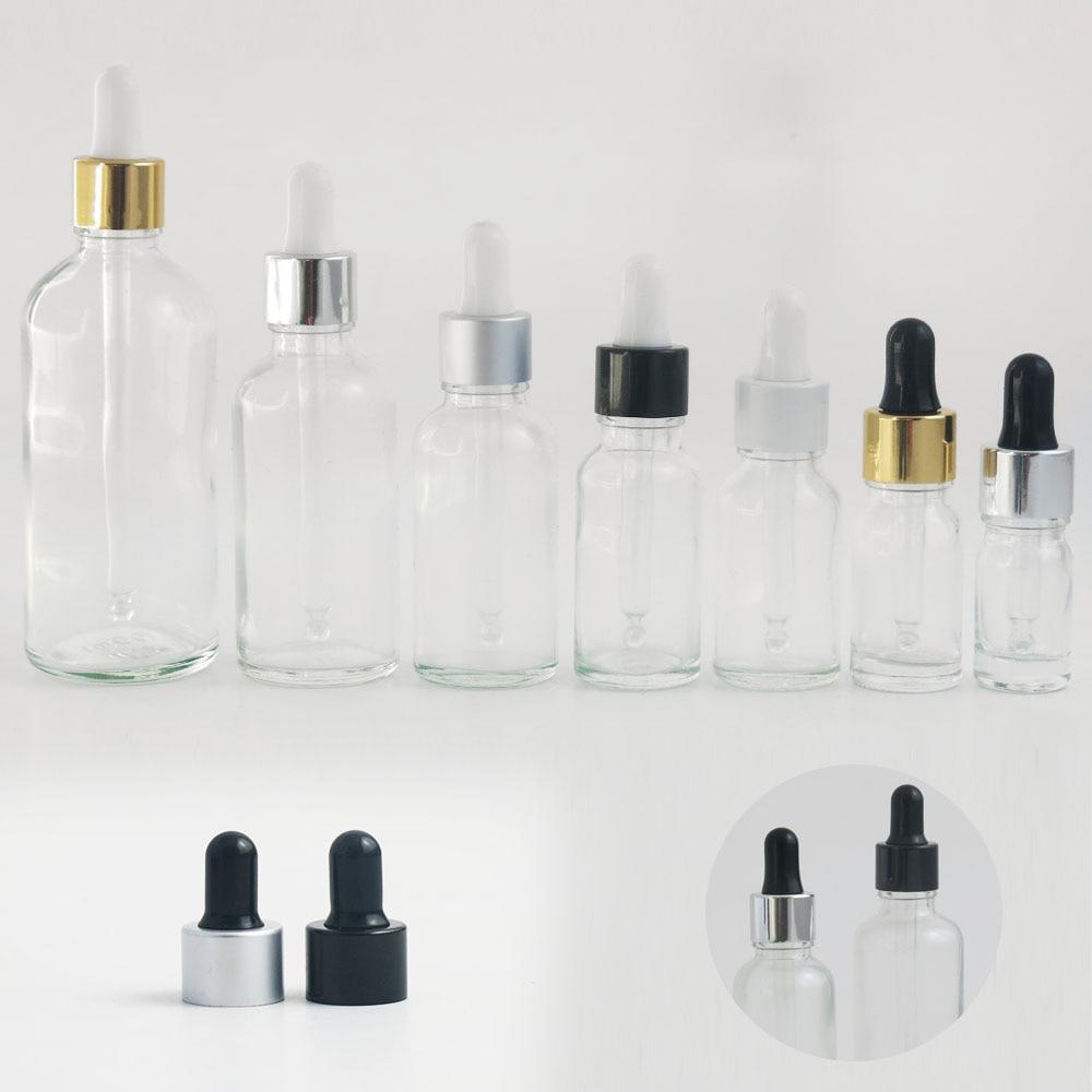 10pcs 5 10 15 20 30 50 ml 100ml clear essential oil e liquid glass dropper bottle with Aluminum gold silver black white cap