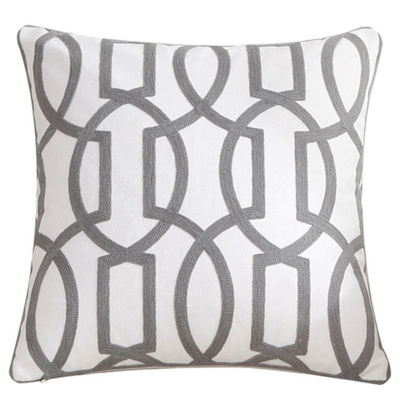 45x45cm decoração para casa bordado capa de almofada cinza rosa geométrica lona algodão suqare bordado fronha