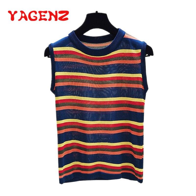 YAGENZ arc-en-ciel rayures tricoté t-shirt Harajuku été t-shirt femmes sans manches gilet de fond tricoté chandail femme t-shirt hauts