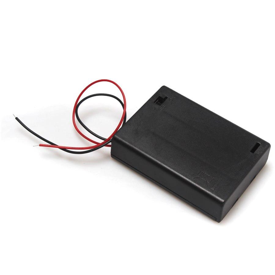 3 x caja de almacenamiento de batería AA 4,5 V con soporte de caja de plástico para interruptor de encendido/apagado con Cable la soldadura para la soldadura de conexión