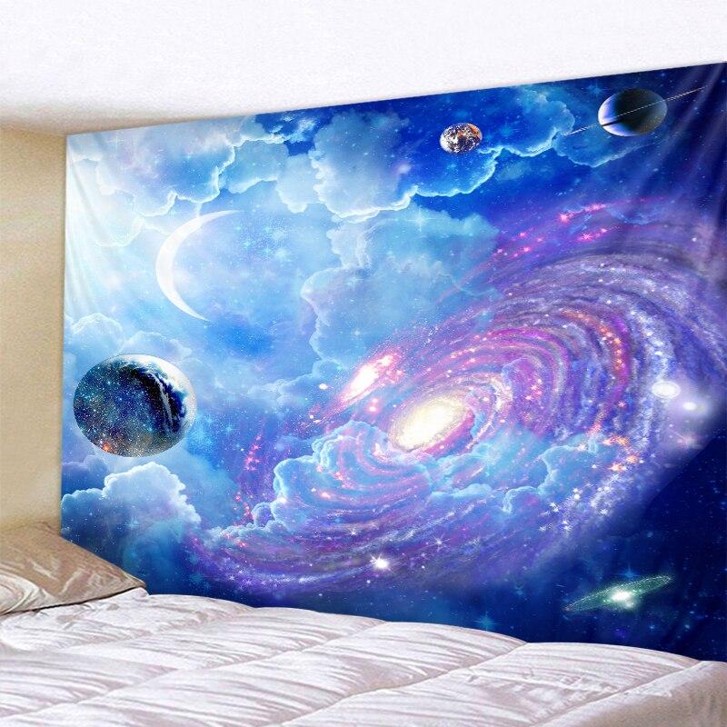 Tapiz psicodélico cósmico con cielo estrellado para colgar en la pared, tapiz de Mandala indio, tapiz Hippie, tapiz de pared bohemio