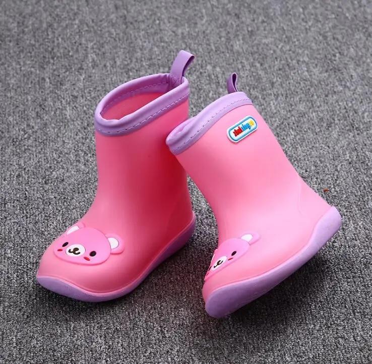 Bottes imperméables antidérapantes en caoutchouc pour enfants, quatre saisons, chaussures d'eau de couleur bonbon, pour filles et garçons