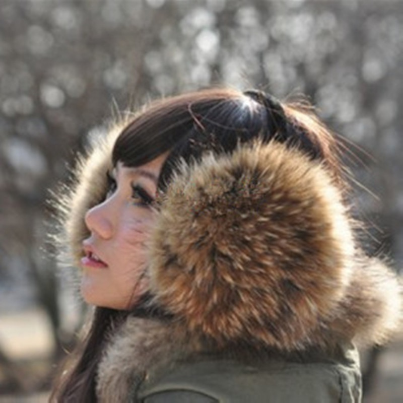 Fur headphones Genuine fur fur earmuffs Genuine Headphones 2020 Raccoon Fur earmuffs Winter Protection ear Full fur Ear warmer