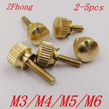 Vis molletonnées en laiton pour ordinateur   2-5 pièces M3 M4 M5 M6 vis molletonnée en cuivre, boulons hélicoïdaux, boulon à pouce