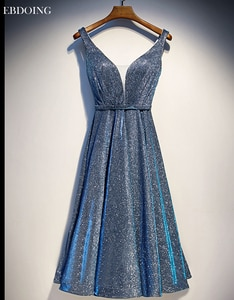 Robe de soiree Stunning A-line Evening Dress V-neck Neckline Vestidos de festa Sleeveless Tea-le ngth Lace Up Back With Beaded
