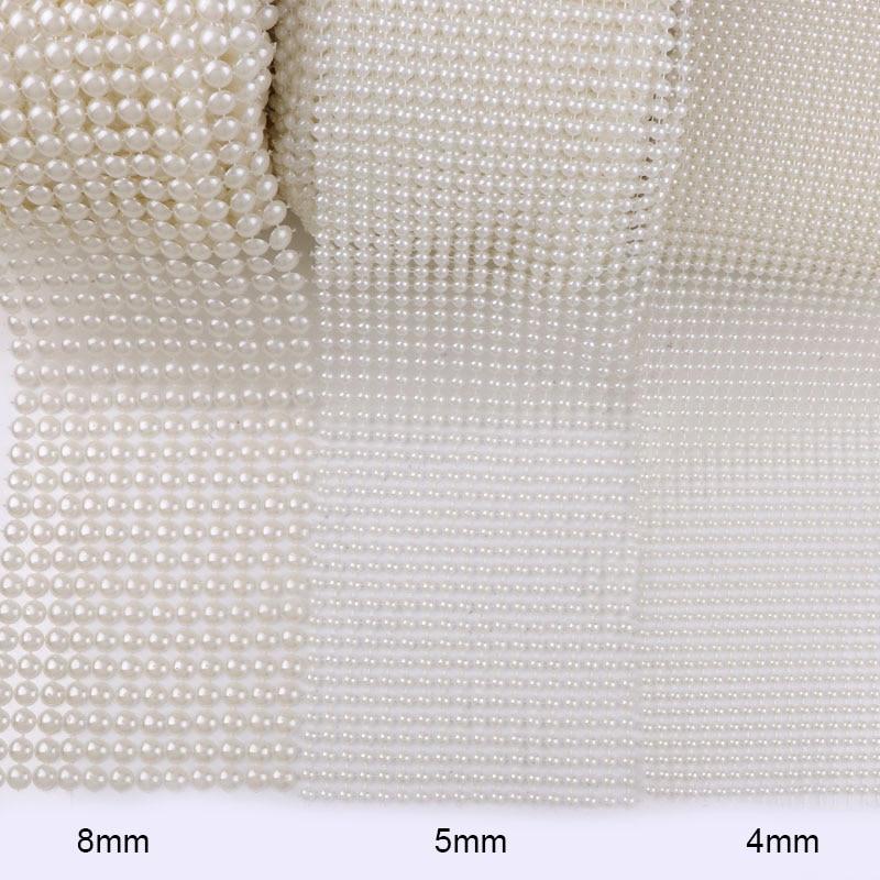 4mm, 5mm, 8mm 1 yarda 12/18/24 filas marfil medio redondo ABS perlas de plástico cadena DIY guirnalda decoración para fiesta de boda
