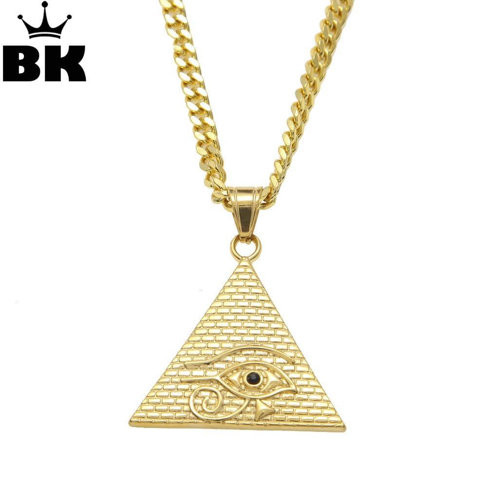 """Egípcio antigo Colar de Pingente de Colar de Hip Hop Illuminati Pirâmide Olho De Horus com 27.5 """"polegadas Miami Curb Cubano Cadeia"""