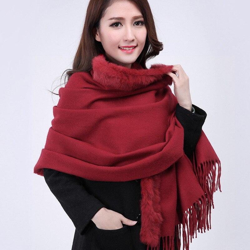 New Burgundy Female 100% Wool Cashmere Pashmina Rabbit Fur Soft Cape Solid Color Muffler Classic Tippet Size176 x 68cm