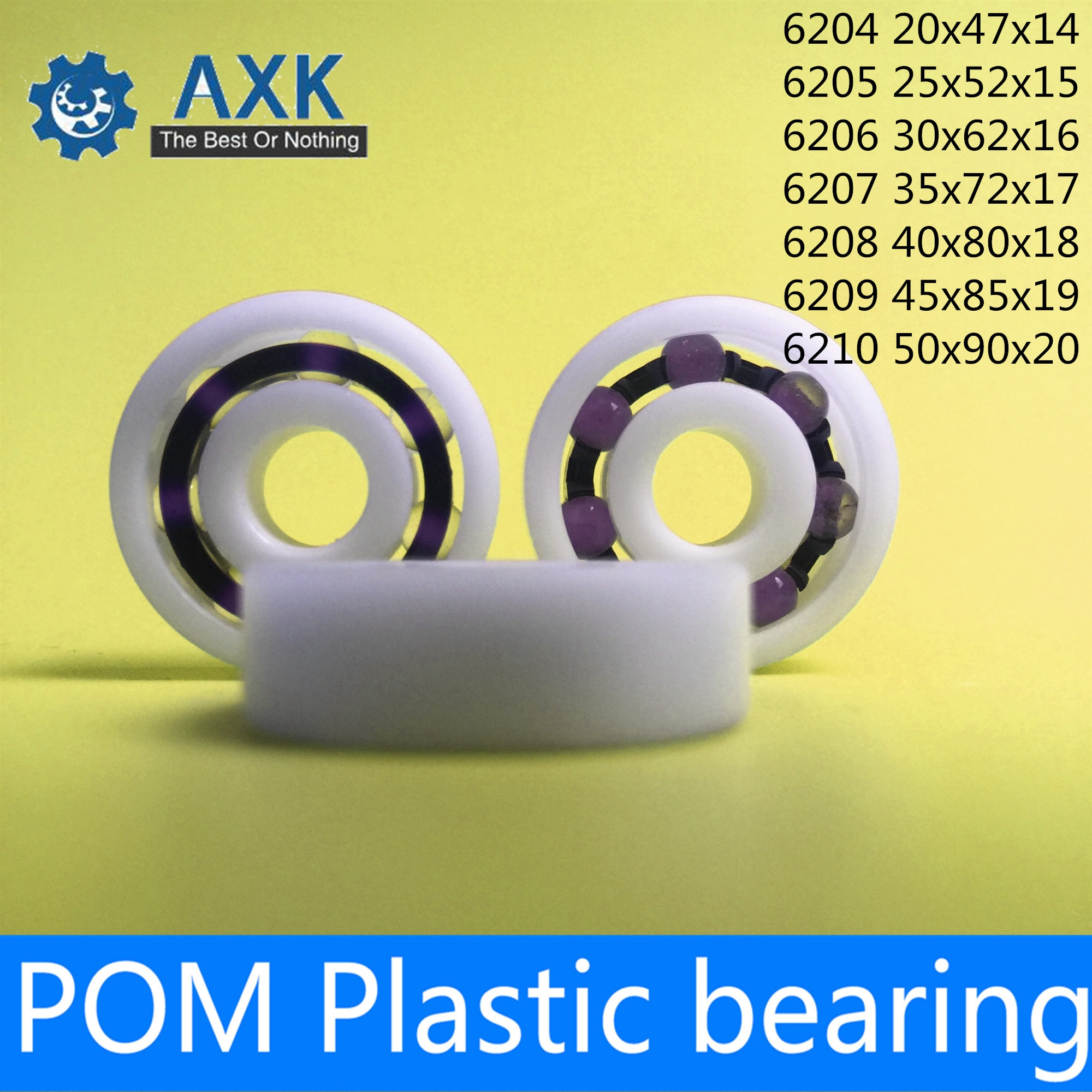 Rodamiento POM 6204 6205 6206 6207 6208 6209 6210 ( 2 uds) bolas de vidrio jaula de Nylon rodamientos de bolas de plástico
