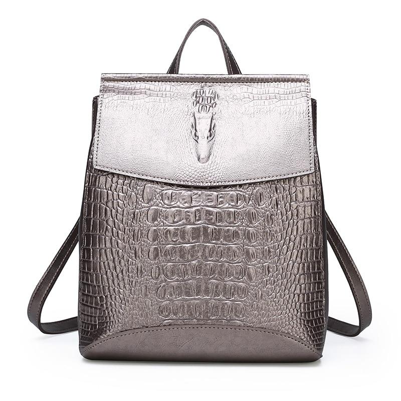 Luxury Women Pu Leather Backpack High Quality Ladies Crocodile Shoulder Bag New Fashion Female Large Capacity Travel Backpacks