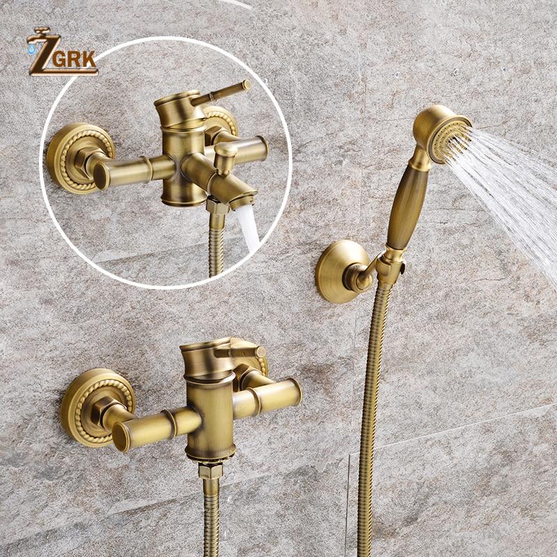 ZGRK Shower Faucets Brass Golden Wall Mounted Rainfall Bathroom Faucet Big Round Shower Head Handheld Bathtub Mixer Tap Set golden brass summit fiesta mania