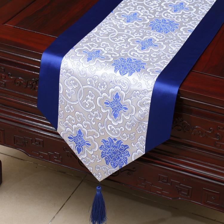 Damasco toalha de mesa corredor da tabela azul branco Chinês tradicional decoração da sua casa tampa de cama