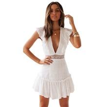 2020 robe douce de dame Sexy blanc évider robe Midi col en V profond taille haute robe Patchwork plissé robe a-ligne robe en dentelle