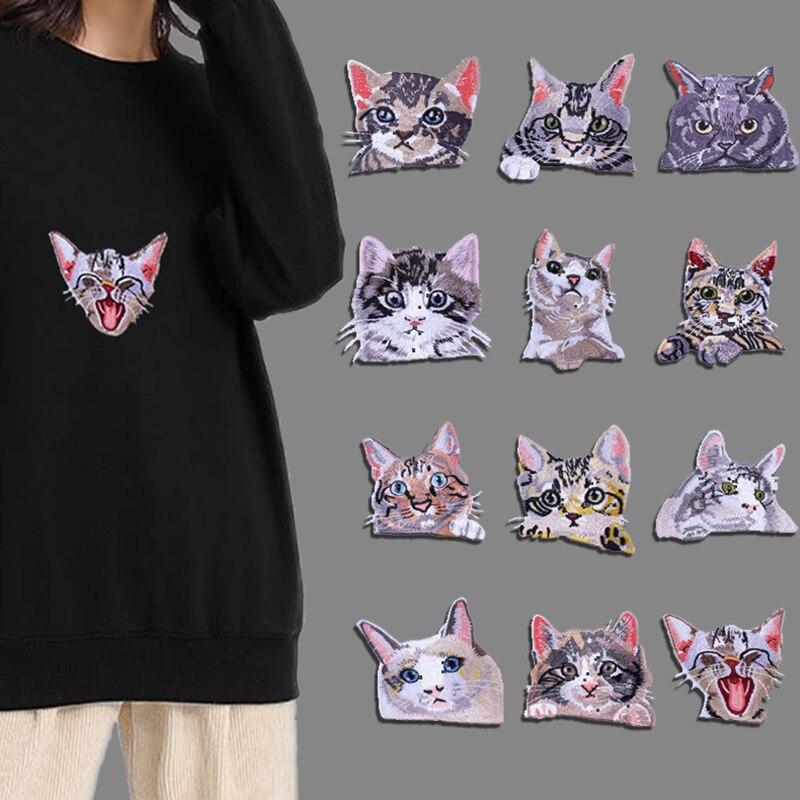 Decoración de ropa de gato de dibujos animados, 1 pieza, parche para ropa con plancha, bolsillo para Vaqueros, apliques populares de alta calidad para bolsos