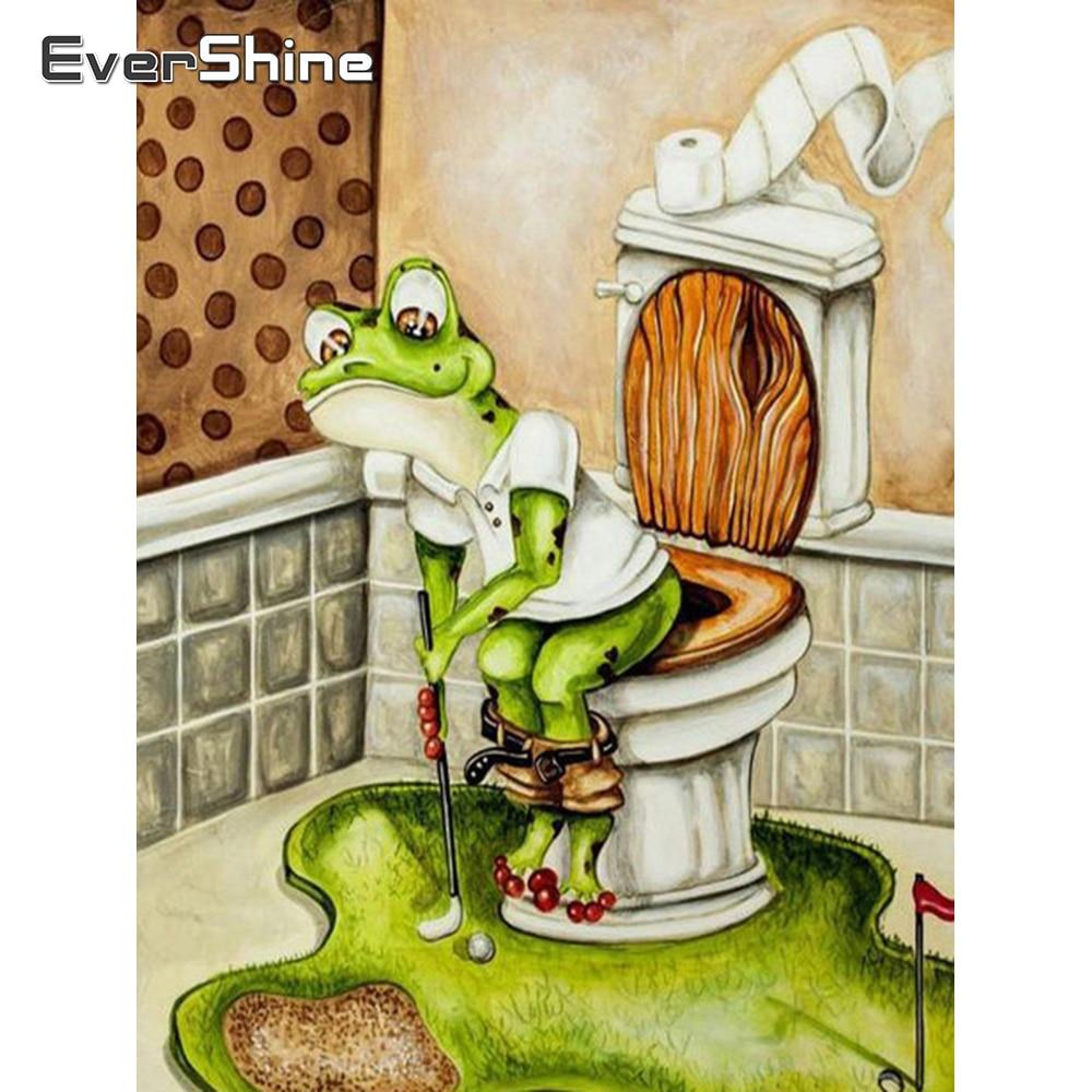 Evershine 5D pintura de diamante rana de dibujos animados bordado de diamante Animal completo mosaico de diamantes cuadrados hogar punto de cruz Kit venta regalo