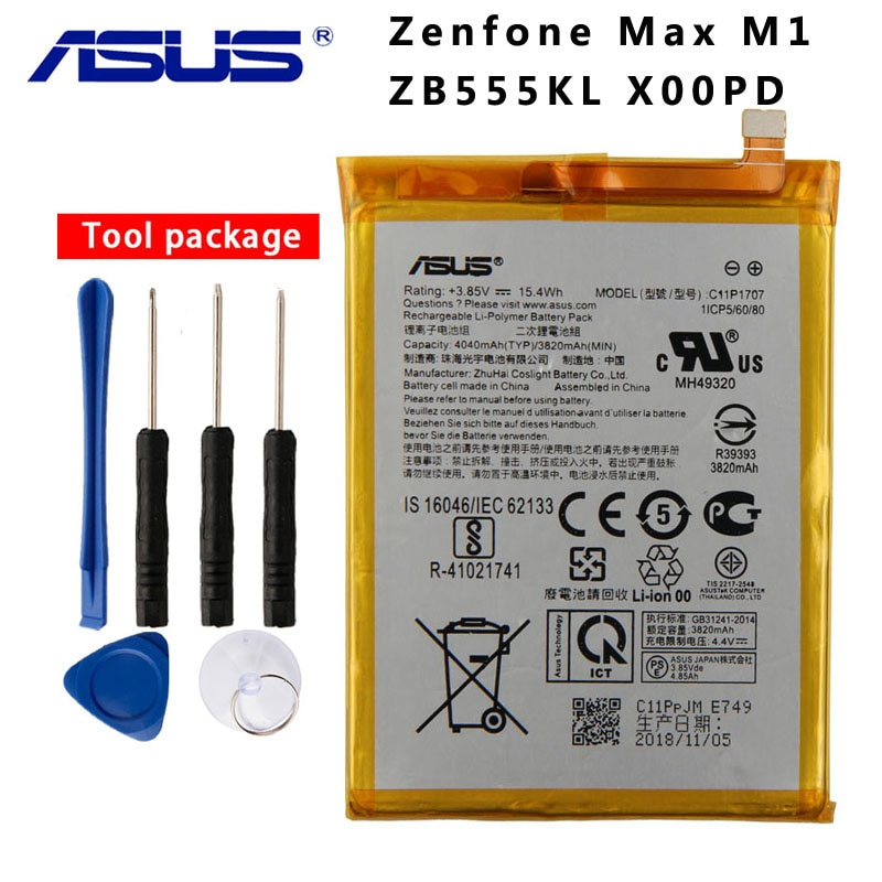 Original ASUS C11P1707 teléfono batería para ASUS Zenfone Max M1 ZB555KL X00PD 4040 mAh