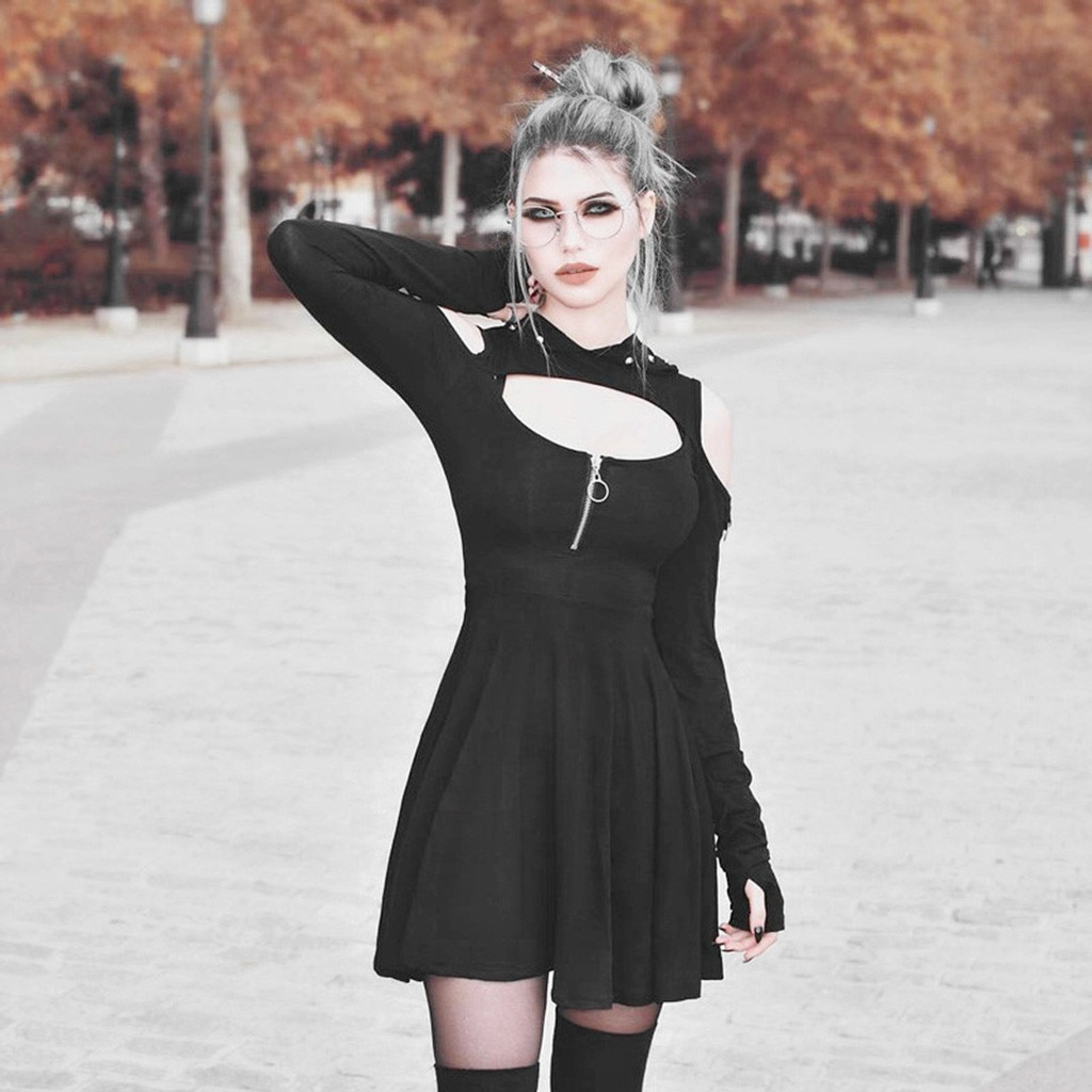 Moda feminina vestidos góticos cor pura com capuz baixo corte frio ombro zippe vestido vestidos moda outono robe femme d717