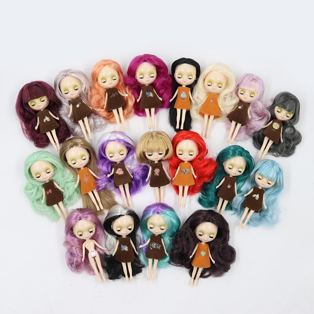 Кукла-мини Blyth nude, 10 см, новый цвет волос с случайным платьем с челкой или без челки, для тела, модные игрушки «сделай сам»