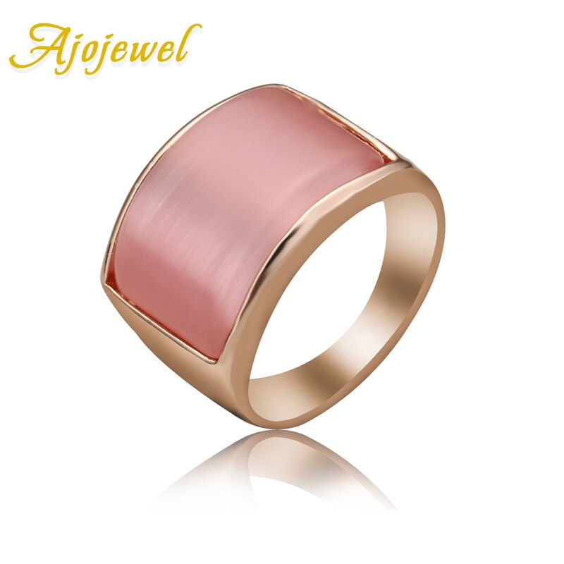 Jojewel 7-9 geométrico branco & rosa opala anel feminino grande anel de pedra projetos eco-friendly jóias presentes finos