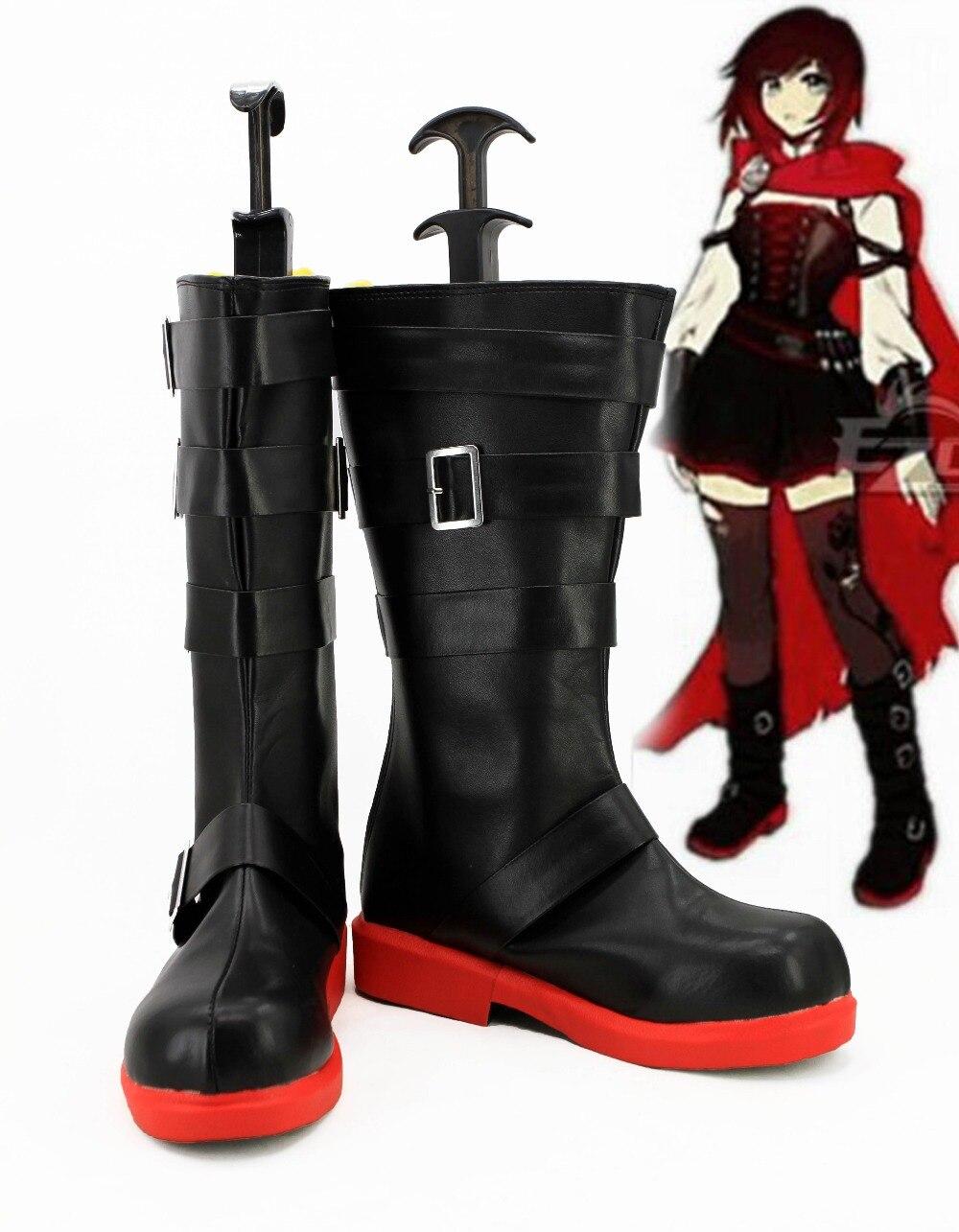 Remolque rojo Ruby Rose Cosplay botas Zapatos Anime fiesta Cosplay botas hechas a medida zapatos de mujer