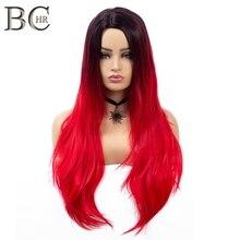 Perruque synthétique lisse Ombre rouge longue-BCHR   Perruque raie au milieu avec racine foncée pour femmes, perruques de Cosplay