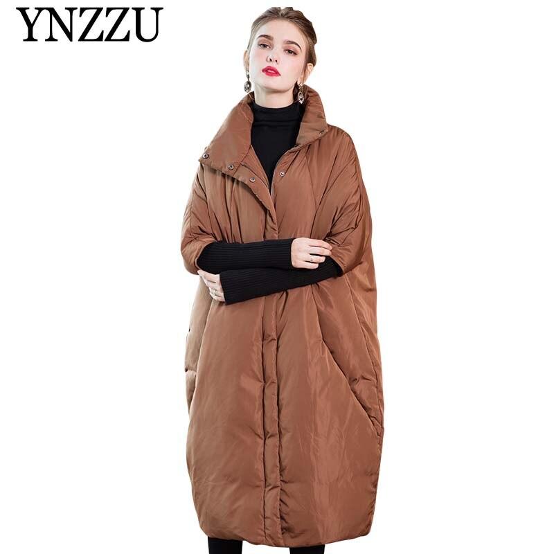 Brand 2019 New Winter Women's Down Jacket Elegant Long Style Knit Sleeve Duck Down Coat Woman Thicken Warm Female Jacket AO803