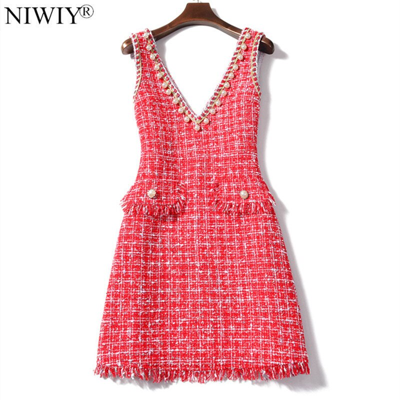 NIWIY marque robe printemps col en v Tweed Sexy femme robe 2021 sans manches soirée robe Lolita Kerst Jurk Ropa Mujer K9127