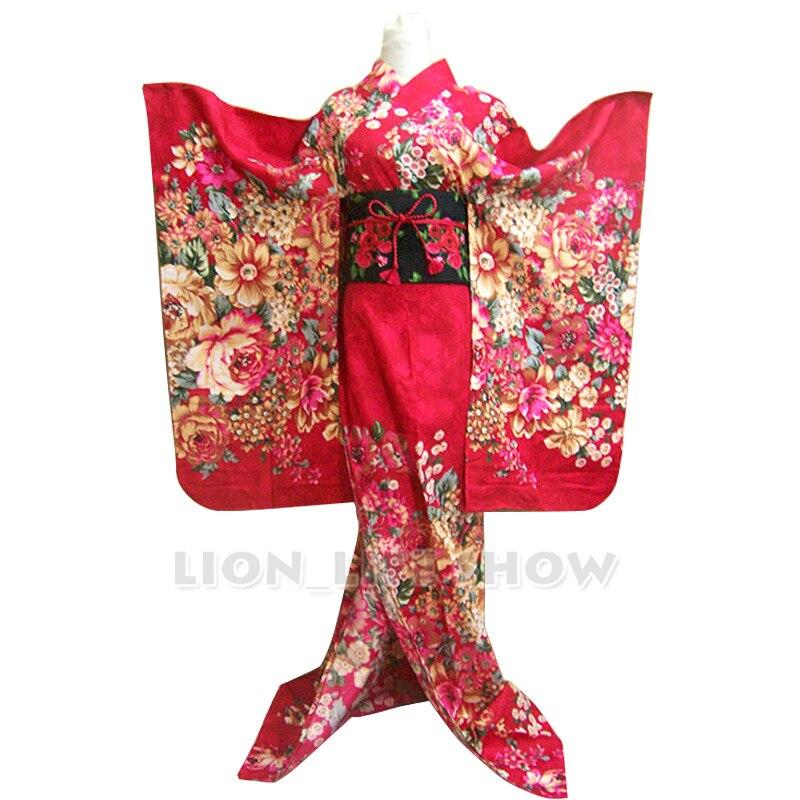 Disfraz de Cosplay, Kimono, largo, Floral, rojo rosado japonés para mujer