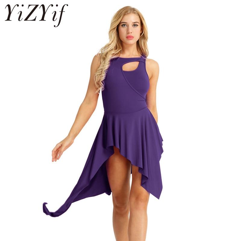 YiZYiF adultos mujeres sin mangas elástico alta baja y vestido de tutú de ballet gimnasia leotardo danza vestido para Danseuse