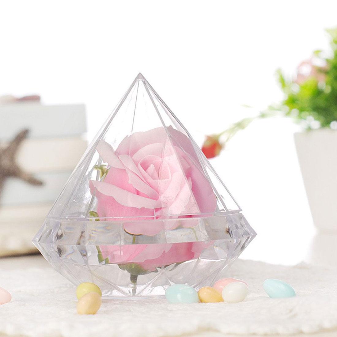 Caja de dulces transparente con forma de diamante para regalo, cajas de plástico para bombones, recuerdo de boda, fiesta, decoración del hogar