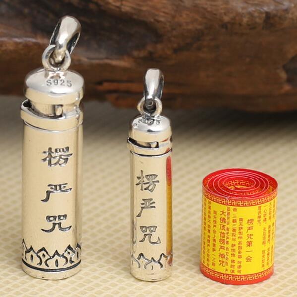 100% caja colgante de plata tibetana Gau 925, caja de oración budista de plata pura, colgante de caja tibetana