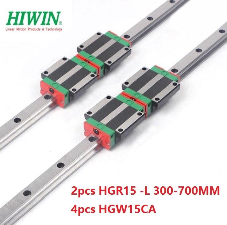 2 uds. original Taiwán carril lineal hiwin guía HGR15-L 300mm/350mm/400mm/500mm + 4 Uds HGW15CA (HGW15CC) bloques de carro lineal