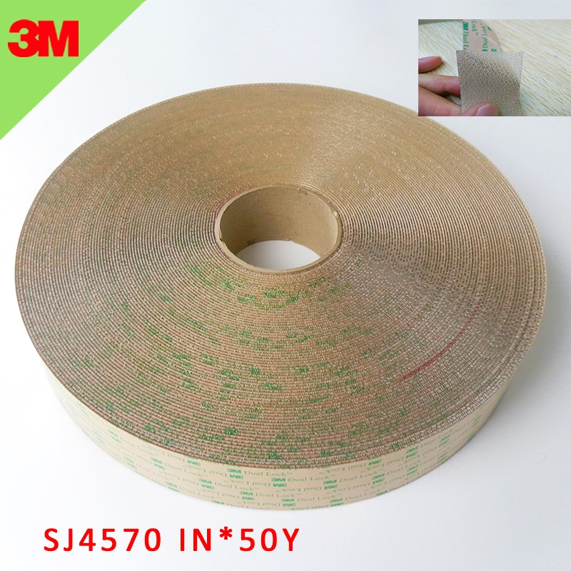 3M SJ4570 dual lock indoor self adhesive two sided tape with  Low Profile Reclosable Fastener clear 1INx50yards