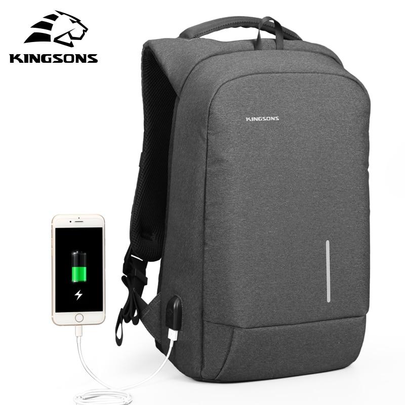 Kingsons-حقيبة ظهر للكمبيوتر المحمول مع شاحن USB خارجي للرجال والنساء ، حقيبة ظهر للكمبيوتر المحمول مع شحن USB خارجي ، مناسبة للسفر والأعمال ، مضادة...